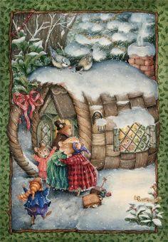 Christmas Basket House by Susan Wheeler Susan Wheeler, Christmas Illustration, Cute Illustration, Christmas Pictures, Christmas Art, Christmas Bunny, Christmas Graphics, Grafic Design, Lapin Art