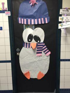 Winter penguin teacher door