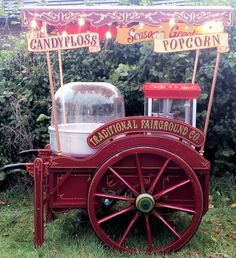 Traditional Funfair Fairground Candy Floss & Popcorn Barrow