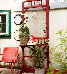 garden shelf from an old screen door ~