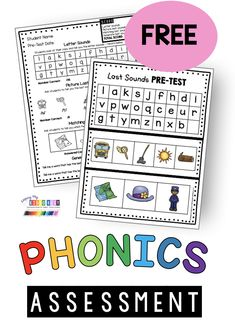 FREE Phonics Assessment and worksheets - kindergarten first grade second grade phonics lessons