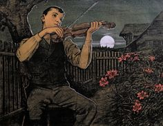 Violin player to the Moon, 1897, Hans Thoma. Germany (1839 - 1924)