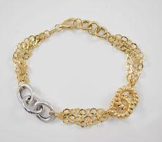 Bracciale donna bicolore Oro giallo/bianco 18kt Gr. 5,70 Larghezza 1,3cm Lunghezza 20 cm.Possibilità di modifica lunghezza.Clicca qui