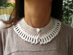 Hand Crocheted Lace Peter Pan Collar Necklace by accessoriesbynez, $42.00