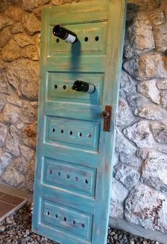 It& so easy to build your own wine rack yourself- So einfach kann man ein eigenes Weinregal selber bauen diy wine rack painted out of wooden door in blue - Old Door Projects, Diy Projects, Old Doors, Wine Storage, Diy Wine Racks, Record Storage, Shabby Chic Homes, Wooden Doors, Wooden Crates