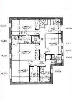 Best Plan Maison étage Chambres Images On Pinterest Bedrooms - Plan etage 4 chambres
