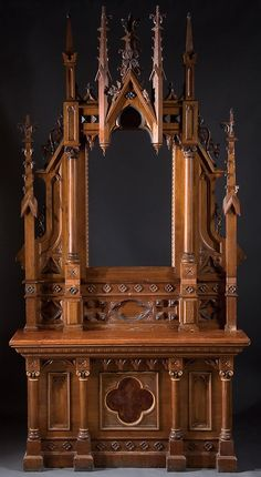 """19th C Medieval Revival: Religious furniture, altar w/ familiar Gothic """"spires"""" + quatre-foiles + machine-sawn,hand-finished tracery-etc"""