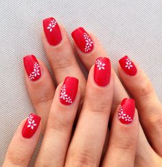 red nails with white flowers, simple nail art