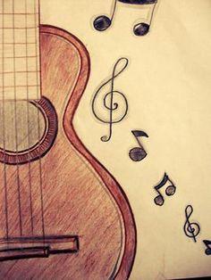 guitarra acustica dibujada a mano