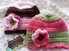 Pair of Newborn Girl Beanie Hats  Pink/Green by TeenyBopperGifts, $20.00