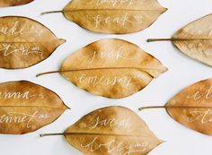 Use leaves to write on as placecards