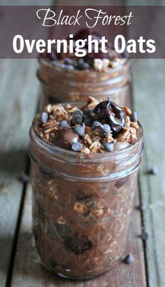Black Forest Overnight Oats recipe! Delicious and dessert like with rich chocolate and juicy dark cherries. Only 267 calories and 7 weight watchers points plus