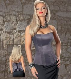 Gorgeous Gun Metal Peplum Corset-Now on sale $52.80  Aphrodite's Closet