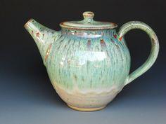 Teapot Ocean Green B by darshanpottery on Etsy