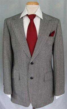 Men's Vintage Gray Herringbone Tweed 100% Wool Hacking Hunting Suit 40 R