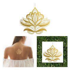 Gold and Silver Henna Temporary Tattoo, Sheebani Flash Tattoos