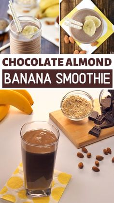 A healthy chocolate protein smoothie perfect for a filling breakfast or snack loaded with healthy ingredients for a boost of protein, vitamins, calcium, and fiber! This Chocolate Almond Banana Smoothi Protein Smoothies, Fruit Smoothies, Smoothie Proteine, Homemade Smoothies, Protein Shake Recipes, Healthy Breakfast Smoothies, Healthy Filling Breakfast, Homemade Protein Shakes, Protein Rich Breakfast