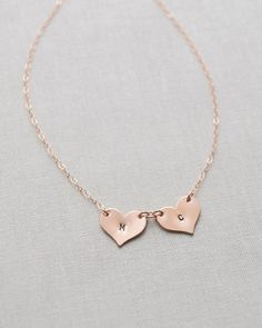 Multiple Heart Initials Necklace by Olive Yew in gold or rose gold. A great Mother's or Grandmother's gift!