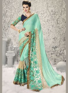 Buy Astounding Sea Green Designer Half N Half Saree #sarees #saree #sari #designersaree #sareebuzzlove #sareebuzz #weddingsarees #weddingfashion