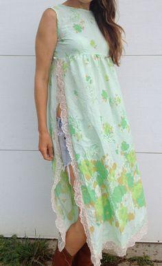Vintage 70s lace hippie boho dress beautiful pastel lace trim RARE gown slits