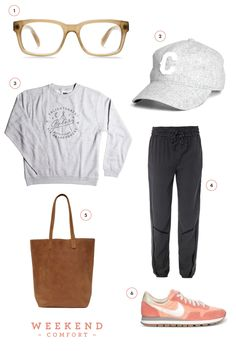 sporty chic simple classic comfy relaxed love the fit of the black pants with the gray slouchy crewneck sweatshirt love the retro running shoes