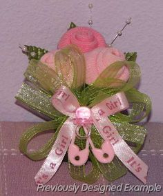 Sock Corsage for a baby shower.