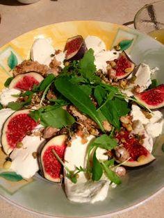 Sesame chicken, fig and mozzarella salad