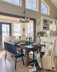 Dining room style principles, whatever the space and additionally spending plan you need to have fun with. Locate ideas for your dining room design with these looks as well as additionally styles. Farmhouse Remodel, Farmhouse Style Kitchen, Modern Farmhouse Kitchens, Farmhouse Ideas, Farmhouse Decor, Country Decor, Farmhouse Style Dining Table, Country Dining Rooms, Country Furniture
