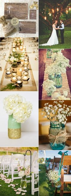 rustic mason jar inspired wedding ideas. I like the jars hanging from the chairs.