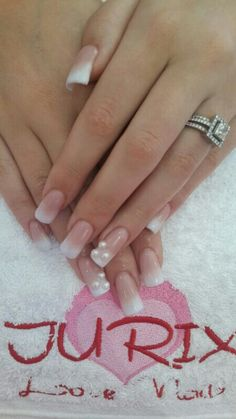 Shaded French Manicure with Pearls