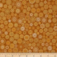 Winter's Grandeur Metallic Small Medallions Gold from @fabricdotcom  Designed by Studio RK for Robert Kaufman, this cotton print features metallic foil printing throughout and is perfect for quilting, apparel and home decor accents.  Colors include white, shades of mustard gold and metallic gold.