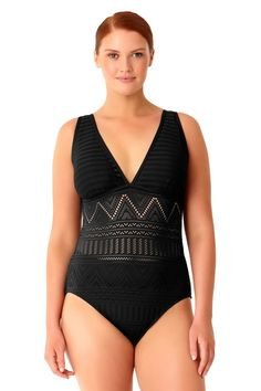 1a6e95425d Anne Cole Women's Plus Size Crochet All Day Plunge Maillot One Piece  Swimsuit