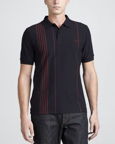 Fred Perry Vertical-Stripe Polo Shirt, Navy - Neiman Marcus