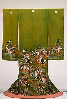 thekimonogallery:  Furisode featuring Plank Bridges (Yatsuhashi), irises and Swallow. Late 18th, early 19th century, Japan. Paste-resist dyeing (yuzen) and silk and metallic thread embroidery on yellow-green silk crepe (chirimen). LACMA (Gift of Mrs....