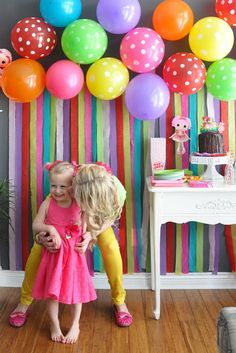 Birthday party decor on pinterest streamers balloons for Balloon and streamer decoration ideas