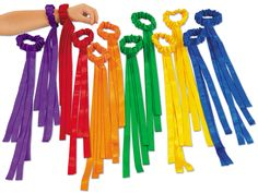 Lakeshore Wrist Ribbons - Set of 12 Our stretchy satin ribbons slide right onto children's wrists—keeping their hands free to dance, wave, clap and more! The 12 ribbons include 2 each of 6 bright colors; the machine-washable ribbons measure 15 in length. Beltane, Costumes Faciles, Ribbon Wands, Praise Dance, Worship Dance, Lakeshore Learning, Movement Activities, Rainbow Activities, Music And Movement