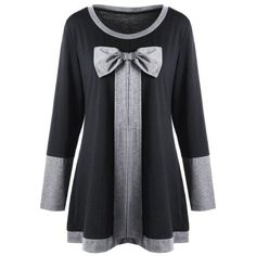 #Spring #AdoreWe #Twinkledeals - #TwinkleDeals Plus Size Bowknot Embellished Tunic Top - AdoreWe.com