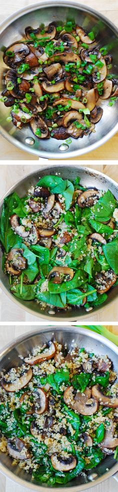 Spinach and mushroom quinoa sauteed in garlic and olive oil.  Healthy, Gluten free, vegetarian, vegan, low in carbs and calories, high in fiber recipe