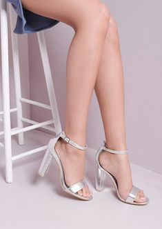 Pointed Strappy Chunky Heeled Sandals Silver