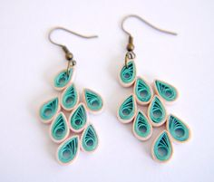 Aqua and Peach Teardrops Paper Quilled Earrings on Etsy, $26.00