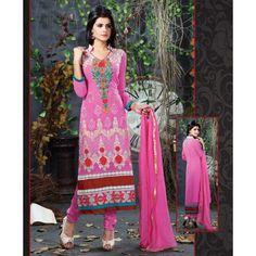 Georgette Thread Work #Pink Semi Stitched Straight Suit - 1001   #Anarkali - #SalwarKameez #Clothing #Fashion #Dress  #salwarsuitdesigns #buysalwarsuitsonline #salwarsuitonlineshopping #newdesignsofsalwarsuits #buysalwarsuits