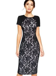 VfEmage Womens Elegant Mesh Embroidered Patchwork Party Bodycon Casual Dress…