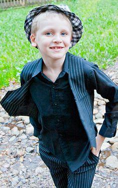 Trendy pinstripe boys suit  #boyssuit #pinstrippedsuit #kidsuit #blacksuit #childrensuits #boysformalwear