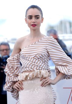 Lily Collins In Johanna Ortiz – 'Okja' Cannes Film Festival Photocall
