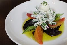 Roasted Beets, Vermont Goat Cheese, Basil, Green Beans, Balsamic Vinegar, XVOO, Micro Arugula, Sea Salt #RoastedBeets