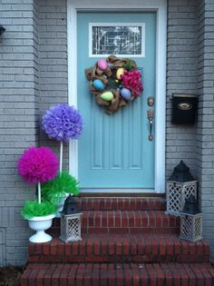 decorating deco mesh wreaths  | ... Easter decor! Deco mesh trees and burlap wreath. ... | Deco mes