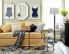 Would love this for a master bed room theme. Blue is a never-go-out-of-style classic, which is why we're smitten with this coastal-inspired living room. Coastal Style, Coastal Decor, Coastal Interior, Coastal Living Rooms, Living Spaces, Small Living, Nautical Home, Nautical Stripes, Beach House Decor