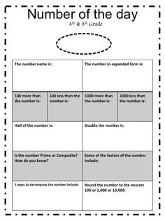 Free Number of the Day Activity Sheet!