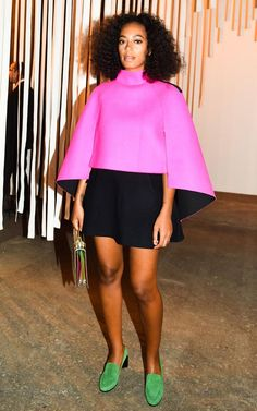 Solange Knowles spotted wearing the KINKS mocassin from the FW15 collection at the Milly SS16 show during #NYFW.