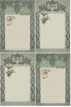 Vintage in Teal Journal Cards ~ Free download
